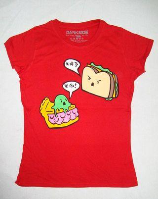 DARKSIDE Camiseta Kawaii Food Dulce Tarta Rojo
