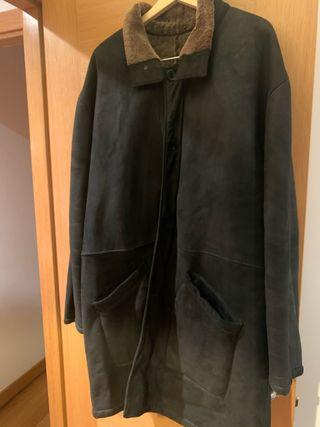 Abrigo piel negro Giorgio Sappini