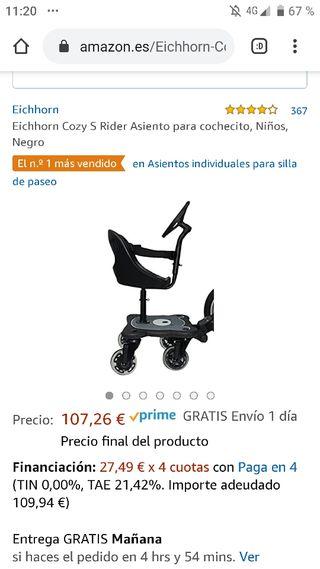 Asiento/patinete silla carro bebé