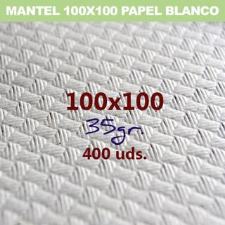 MANTEL PAPEL BLANCO 100X100