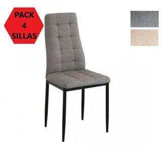 Pack 4 sillas comedor, tapizada tela gris o beige