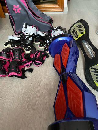 Patinete hoverboard y patines