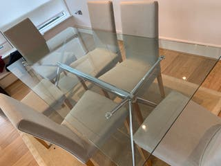 Heal's dinning glass table & chairs