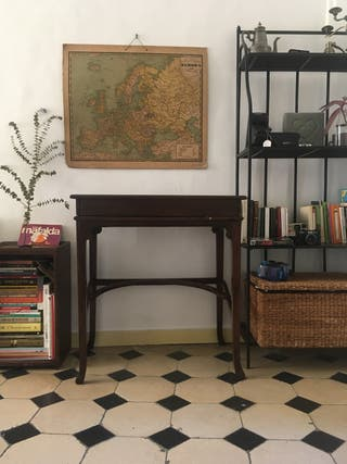 Escritorio secreter vintage madera roble oscuro