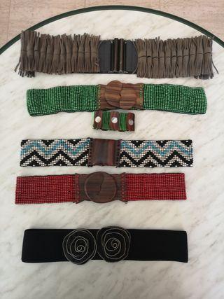 cinturones varios, étnico,broche madera