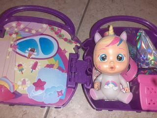 bebé lloron unicornio purpurina