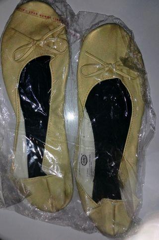 manoletinas plegables bolso doradas talla 36