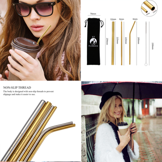 Stainless Steel Straw, Reusable Metal Straws(8pcs)