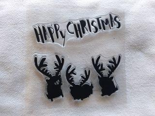 happy Christmas Renos navidad sellos clearstamps