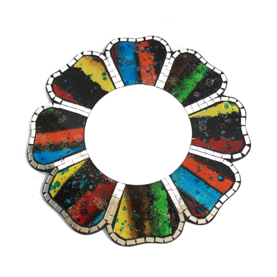 2x Rainbow Mosaic Wall Mirror - 30cm
