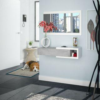 Recibidor moderno con cajon mas espejo color Blanc