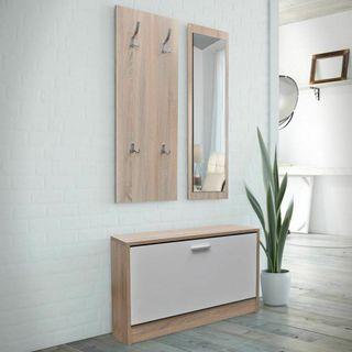 Set 3 en 1 zapatero de madera color roble y blanco