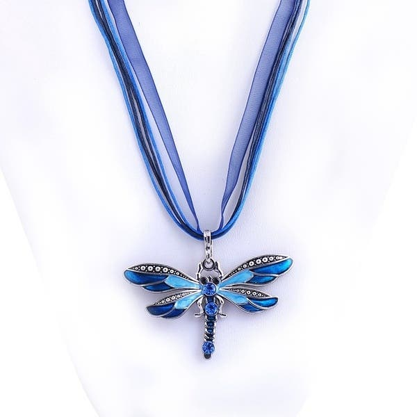 Women Crystal Dragonfly Ribbonl Necklace