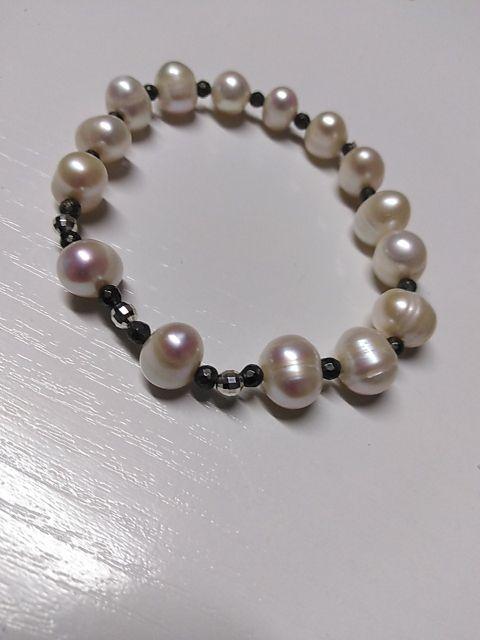 Pulsera de plata 925.Perlas, y piedras pirita