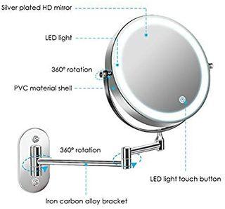 espejo con luz led 1X / 5X aumento giratorio