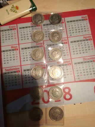 6 monedas de 5 pesetas del 1957
