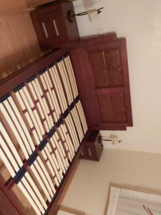 dormitorio con cabecero poli piel en color nogal