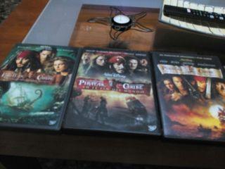 Lote de peliculas de piratas del caribe.dvd