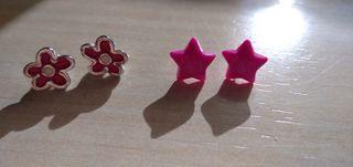 Pendientes de estrella + pendiente de flor