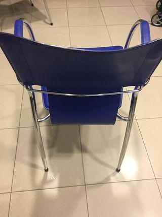 Silla - Sillón azul y metal polipiel nuevas