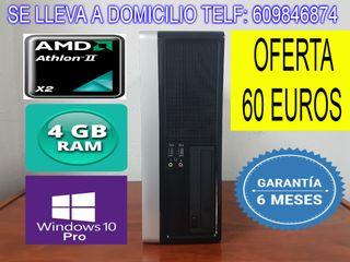 ORDENADOR DUAL CORE 4 GB RAM 320 GB HDD GARANTIA