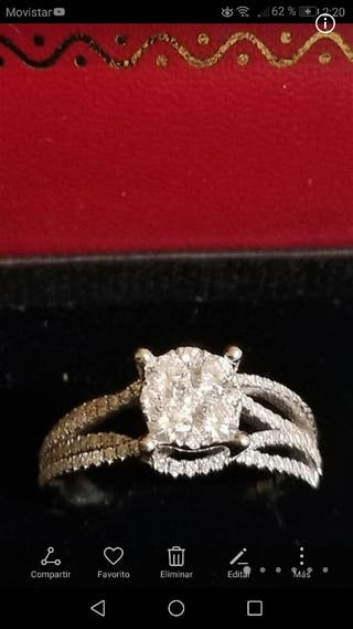 anillo oro blanco diamantes 1'37cts Nuevo
