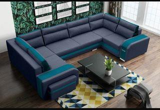 Sofa grande en forma de U com cama y 3 arcones
