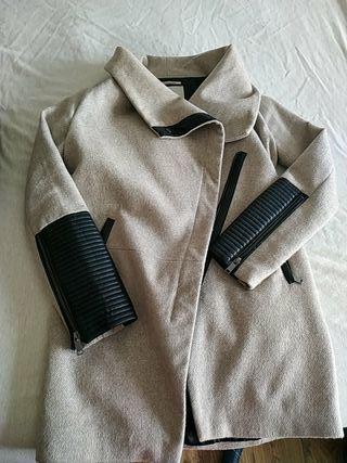 abrigo paño combinado mangas piel