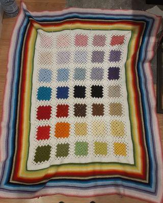 Handmade colourful crochet blanket. New. 125x100.