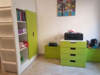 Cama alta con escritorio y armario + cómoda