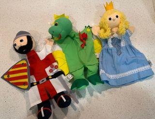 Marionetas Caballero, dragón y princesa