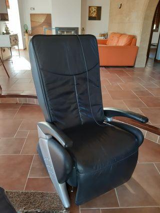 Sillon de masaje de piel negro electrico
