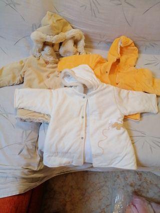 lote tres chaquetas bebe, 3 meses, 6 meses, 24 mes