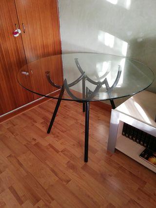 Mesa de cristal 1.10 cm d diámetro