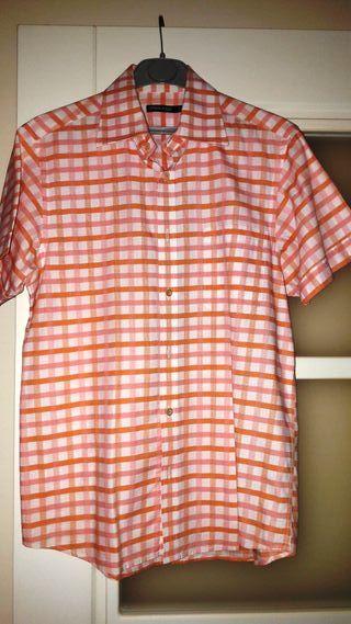 Camisa Hombre Springfield a Cuadros en Naranja, Blanco