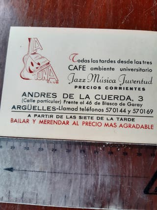 "Tarjeta publicitaria ""La tuna club"""