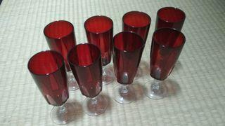 copas cristal rojas arcoroc vintage