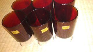 copas cristal rojas arcoroc antiguas vintage