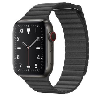 Apple Watch 5 44mm space grey+ black leather strap