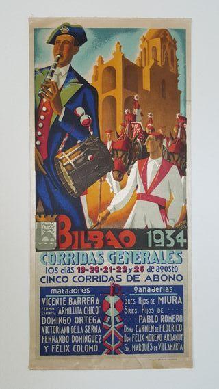 CARTEL DE TOROS EN SEDA BILBAO 1934