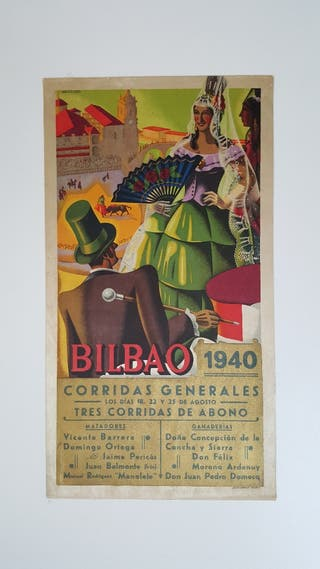 CARTEL DE TOROS EN SEDA BILBAO 1940
