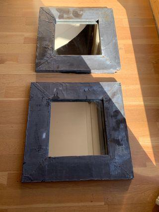 Dos Espejos Becara Metal gris