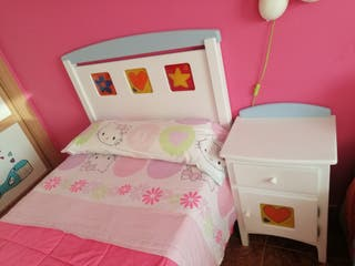 cabecero, mesilla, colchón, y canapé infantil 90cm