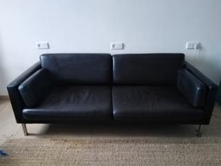 Sofa de piel marrón 3 plazas