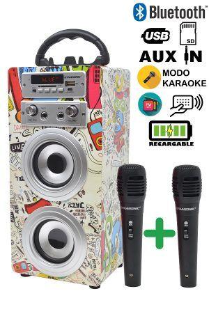 Altavoz karaoke 2 micrófonos NUEVO, ENVIO INCLUIDO