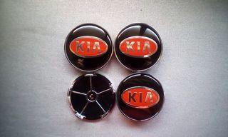 4 Tapabujes centro rueda Kia negro rojo 68mm