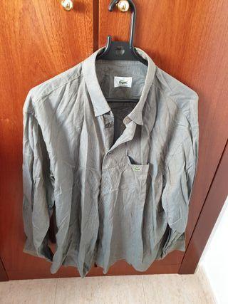 camisa cuadritos gris Lacoste