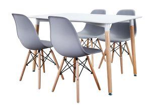 Conjunto de mesa rectangular y sillas grises