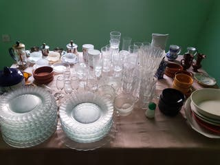 Lote platos vasos copas tazas loza juego café ...