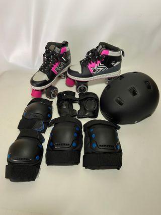 patines 4 ruedas, casco y protectores